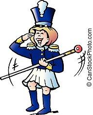 girl, vecteur, tamburmajor, dessin animé, illustration