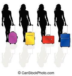 girl, vecteur, valise