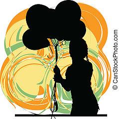 girl., vector, illustratie