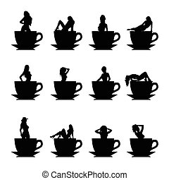 girl vector silhouette in cup of coffee