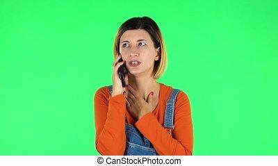 girl, vert, écran, conversation, mobile, téléphone.