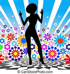 girl., vetorial, silueta, dançar