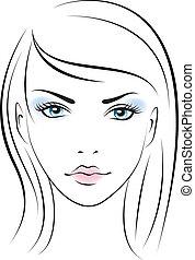 girl., vettore, bellezza, faccia
