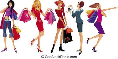 girl., vettore, shopping, carino, illustrazione