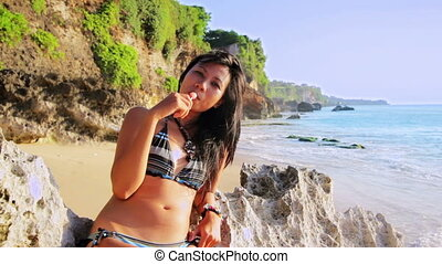 girl, vilain, plage, séduisant