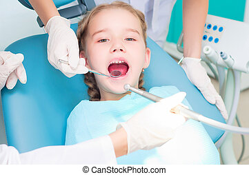 girl visiting dentists, visit the dentist