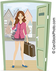 Illustration of a Girl Carrying a Piece of Luggage Coming Over to Her Friend's House for a Visit