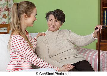Girl visiting her grandma