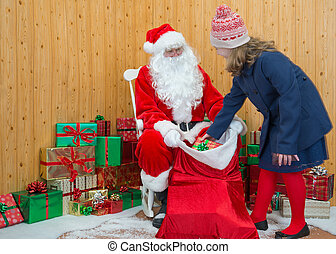 Girl visiting Santas grotto