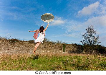 girl, voler, parapluie