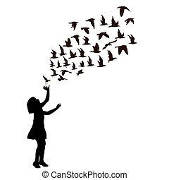 girl, voler, silhouette, oiseaux