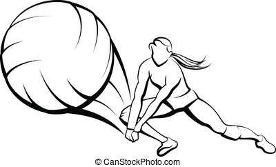 Girl Volleyball Dig - Vector illustration of a girl digging...
