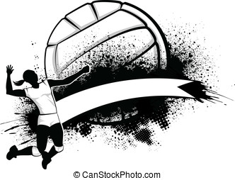 Girl Volleyball Grunge Banner - Vector illustration of a...