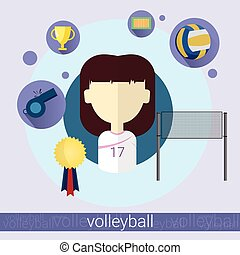 Girl Volleyball Player Icon