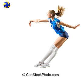 Girl volleyball player (ver with ball) - Young girl...