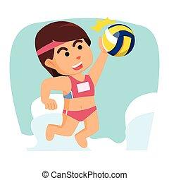 girl volleyball smashing ball