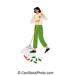 Girl Volunteer Gathering Garbage and Leaves on Street Using Rake, Volunteering, Ecological Lifestyle Vector Illustration