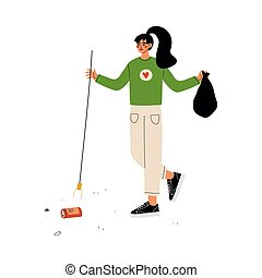 Girl Volunteer Gathering Garbage and Plastic Waste on Street, Volunteering, Ecological Lifestyle, Vector Illustration