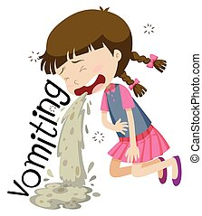Girl vomiting and feeling sick illustration
