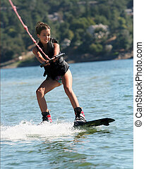 girl, wakeboarding