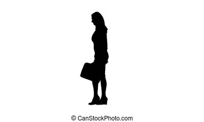 Girl walk a briefcase in hand . Side view. White background....