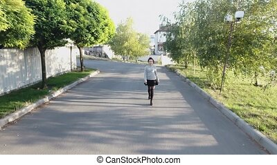 girl walk down the street