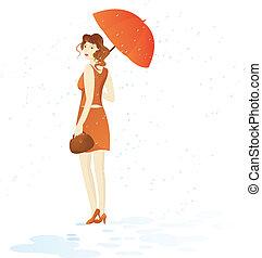 Pretty girl in brown costume walk with umbrella under rain