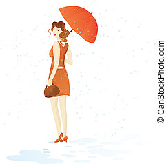 Girl walk with umbrella under rain - Pretty girl in brown...