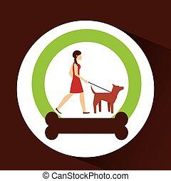girl walking a brown dog