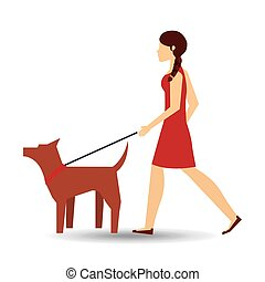 girl walking a brown dog