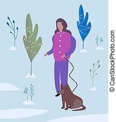 girl walking a dog. Flat vector illustration