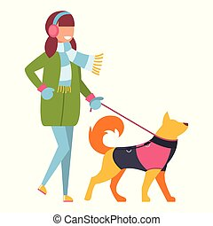 Girl walking a dog in winter clothes. Vector illustration on white isolated background