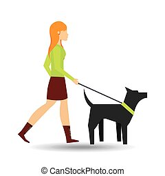 girl walking a gray dog with strap