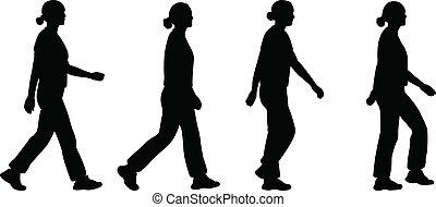 girl walking - vector