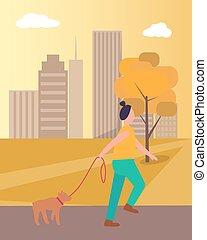 Girl Walking Dog in Park on Vector Illustration