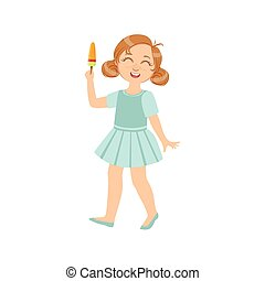 Girl Walking Holding Ice-Cream On A Stick