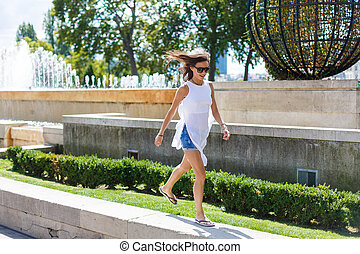 Girl walking in Paris