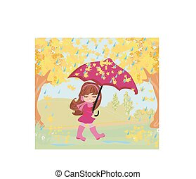 girl walking in the rain