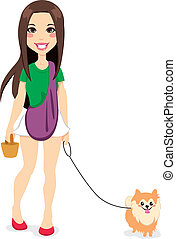 Girl Walking Little Pomeranian - Beautiful young girl...