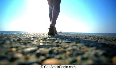 Girl walking on Jetty. HD. 1920x1080 - Girl walking on...