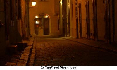 Girl Walking on Medieval Street