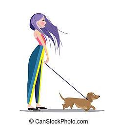 Girl walking with her dog, cartoon vector illustration
