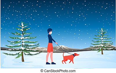 girl walking with her dog in a snow