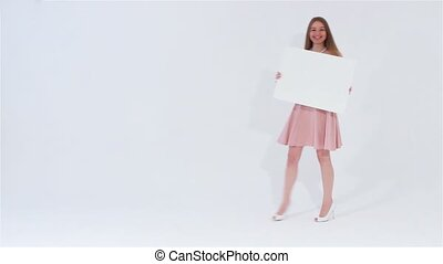 Girl walking with white banner