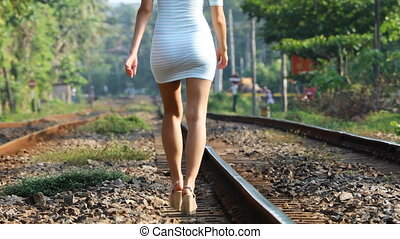 Girl Walks Along the Railroad, 4K