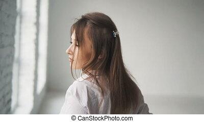 Girl Walks Happily in Room