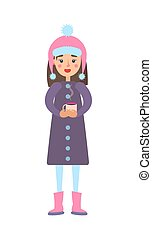 Girl Warm Winter Cloth with Cup of Hot Tea Drink