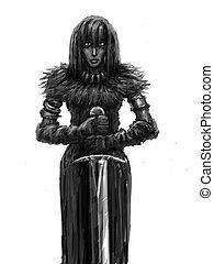 Girl warrior with big sword.