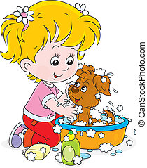 Girl washing a puppy