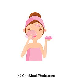 Girl Washing Face With Soap Portrait Flat Cartoon Simple...